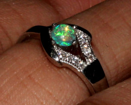 Natural Ethiopian Welo Fire Opal 925 Silver Ring Size ( 6.5 US) 64
