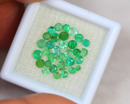 2.28ct Zambia Green Emerald Round Cut Lot GW2939