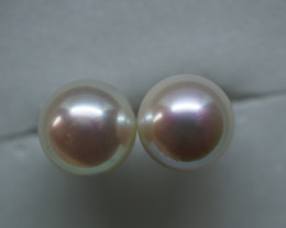 7.70CT PAIR OF PEARL EARINGS SET IN SILVER PL49