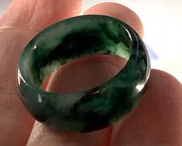 26.42ct DARK GREEN JADEITE JADE RING SIZE 11 'A' Grade