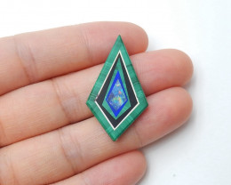 Fashion  Malachite, Obsidian ,Lapis Lazuli and Opal Intarsia Cabochon(H2881