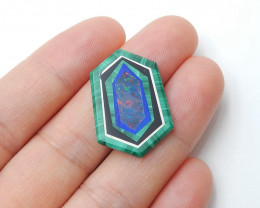 Fashion Malachite, Lapis Lazuli ,Obsidian and Opal Intarsia Cabochon H2874