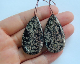 Snowflake obsidian earrings ,tear drop earrings ,healing stone A836