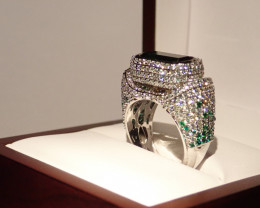SALE  !!DIAMONDS -INDIGOLITHE RING - Report on current value- 16000 $