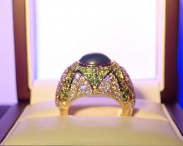 CERT !!DIAMONDS -Grandidierite RING  Report on current value- 8000 $