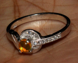 Natural Ethiopian Welo Fire Opal 925 Silver Ring Size ( 8 US) 89