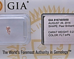 0.22ct Fancy brownish Pink Natural Diamond GIA certified