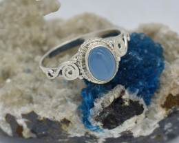 RING 925 STERLING SILVER AQUA CHALCEDONY  NATURAL GEMSTONE JE1329