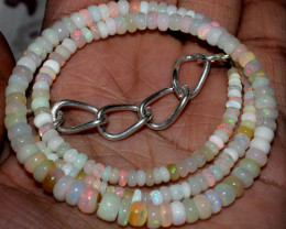 51 Crts Natural Ethiopian Welo Fire Opal Beads Necklace 78