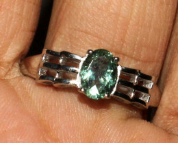 Natural Faceted Green Tourmaline 925 Sterling Silver Ring Size ( 8 US) 29