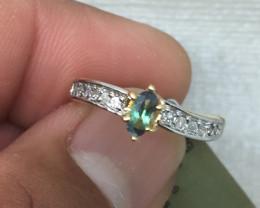 (B9) Cert. $1400 Nat 0.44cts. Alexandrite & Diamond Ring 10K YG 2.15gr