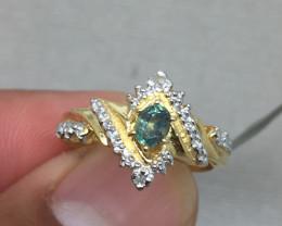 (B10) Amazing Cert $1600 Nat 0.48ct Alexandrite&Diamond 10K YG 2.89gr