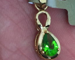 (B14) Ravishing Nat 0.40cts Peridot Tear Drop & Diamond Necklace 14K YG