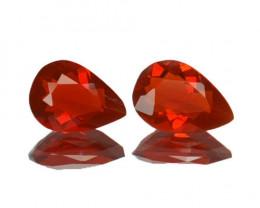 ~PAIR~ 0.78 Cts Natural Reddish Orange Fire Opal Pear Cut Mexico