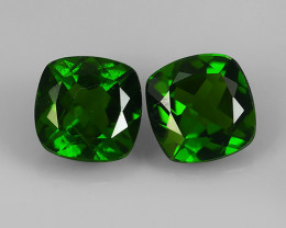 1.95 Cts Eye Catching Natural Rich Green Chrome Diopside Cushion Pair