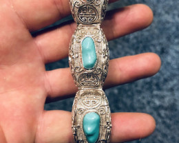 250 CT Silver Bangle Filigree with Turquoise. UNIQUE