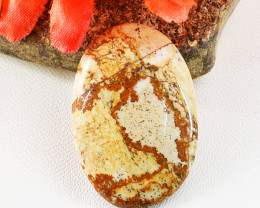 Genuine 45.00 Cts Oval Shape Picture Jasper Cabochon