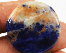 Genuine 27.00 Cts Sodalite Round Shape Cabochon