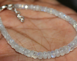25 Crt Natural Rainbow Moonstone Faceted Beads Bracelet 71