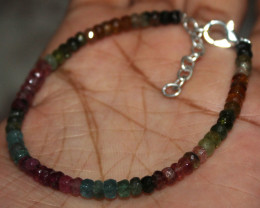 23 Crt Natural Multi Tourmaline Faceted Beads Bracelet 99