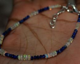 8 Crt Natural Ethiopian Welo Fire Opal & Lapis Lazuli Beads Bracelet 89