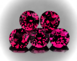 ⭐5 piece parcel of Rhodolite Garnet gems 5.50mm