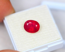 3.63Ct Blood Red Color Ruby Oval Cut Lot Z32