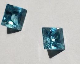 Blue zircon pair of prince cut stones 13024469