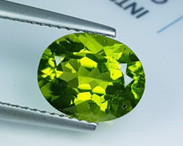 """3.20ct """" Collective Gem """" Awesome Cushion Cut Top Luster Peridot"""