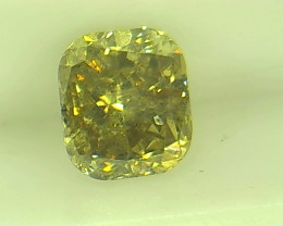 0.65ct  Fancy Intense yellowish brownish Green Diamond , 100% Natural Untre