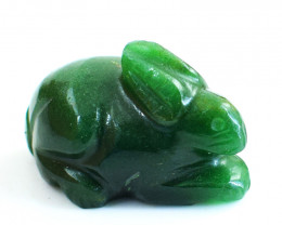 Genuine 48.00 Cts Green Jade Carved Bunny