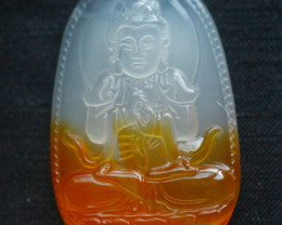 101.5Ct Natural Madagascar Chalcedony Bodhisattva Carving Pendant