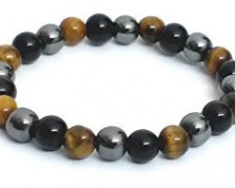 Tiger Eye, Hematite, Black Onyx Stone Bracelet 8mm