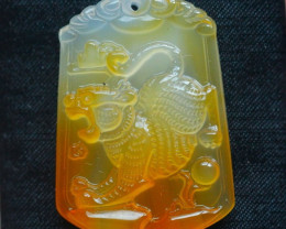 94.5Ct Natural Madagascar Chalcedony Tiger  Carving Pendant