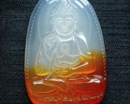 101.5Ct Natural Madagascar Chalcedony Buddha Carving Pendant