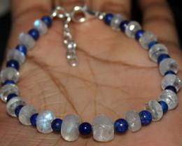 44 Crt Natural Rainbow Moonstone & Lapis Lazuli Beads Bracelet 83