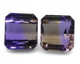 20.6 ct Pair Square Ametrine - $1 No Reserve Auction