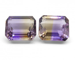 27.34 ct Pair Emerald Cut Ametrine