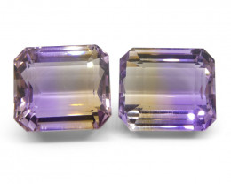 54.18 ct Pair Emerald Cut Ametrine