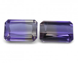 22.76 ct Pair Emerald Cut Ametrine