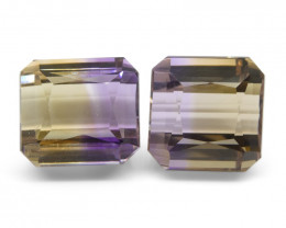 19.01 ct Pair Emerald Cut Ametrine
