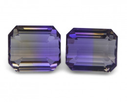 24.54 ct Pair Emerald Cut Ametrine