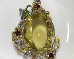 ⭐Lemon Quartz Garnet Pendant with Sterling Silver and 14kt Gold 55.50cts