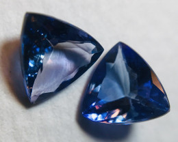 1.86Ct VVS Tanzanite Pair Trillion Cut - Certified Untreated TNZ002