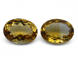8.65 ct Pair Oval Citrinet- $15 No Reserve Auction