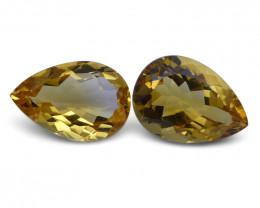 10.2 ct Pair Pear Citrine - $1 No Reserve Auction