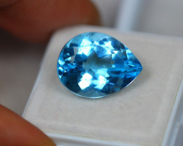 11.22ct Swiss Blue Topaz Pear Cut Lot V3056