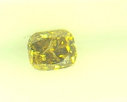 0.24ct Fancy Vivid Brown Yellow  Diamond , 100% Natural Untreated