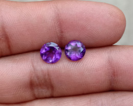 TOP QUALITY AMETHYST PAIR 7 mm ROUND  Natural+Untreated VA2160