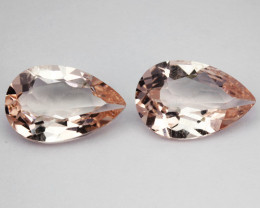 4.89 Cts Natural Soft Peach Morganite 2 Pcs Pear Cut Brazil